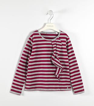 Maglietta chic a righe con rouche sarabanda SANGRIA SCURO-2655