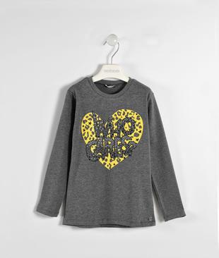 Maglietta rock con cuore e strass sarabanda GRIGIO MELANGE SCURO-8994