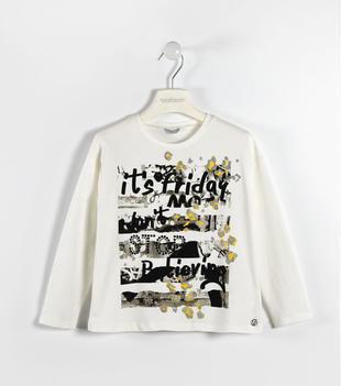 Graziosa maglietta svasata con simpatica e colorata stampa sarabanda PANNA-0112
