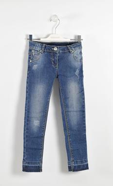 Jeans effetto delavato con fondo taglio vivo sarabanda NAVY-7775