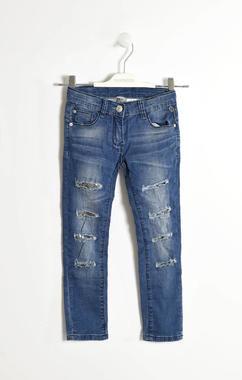 Pantalone in denim con toppe di paillettes sarabanda STONE WASHED-7450