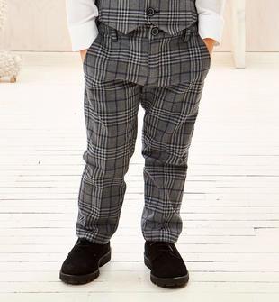 Pantalone in tessuto quadro tinto filo sarabanda GRIGIO SCURO-0564