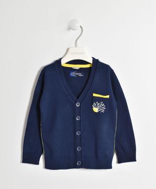 Cardigan in tricot di cotone con toppe sarabanda NAVY-3854
