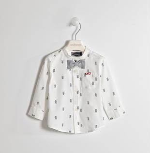 Camicia con fantasia cagnolini sarabanda BIANCO-GRIGIO-6GE8