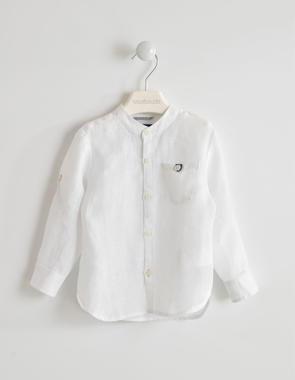 Camicia bambino in lino a manica lunga sarabanda BIANCO-0113