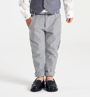 Pantalone rigato taglio chino sarabanda GRIGIO SCURO-3827