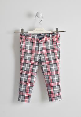 Pantalone fantasia a quadri sarabanda BIANCO-BLU-6GL7