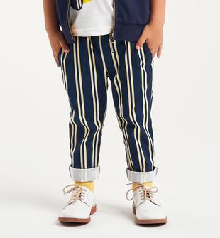 Pantalone in popeline modello chino fantasia rigata sarabanda BIANCO-NAVY-6GR5