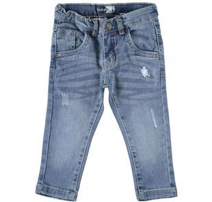 Pantalone in denim stretch effetto rotture sarabanda STONE BLEACH-7350