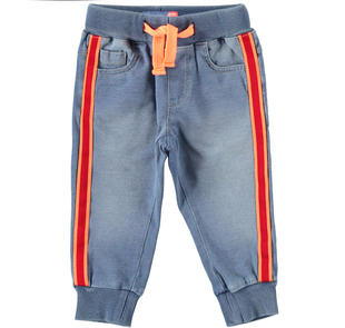 Pantalone in felpa effetto denim sarabanda STONE BLEACH-7350