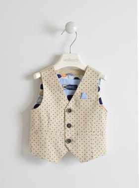 Gilet bambino in twill di cotone con fantasia all over pois sarabanda BEIGE-NAVY-6GG3