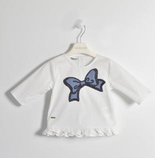 Camicia con fiocco di paillettes sarabanda BIANCO-0113