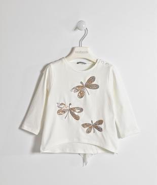 Grazioso girocollo con libellule di paillettes sarabanda PANNA-0112