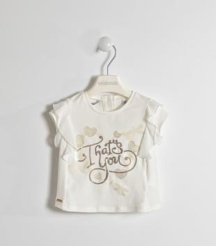 Elegante t-shirt con cuori e ricamo di paillettes sarabanda PANNA-0112