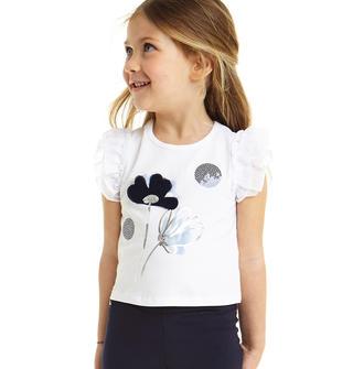 Romantica t-shirt con ricamo e paillettes sarabanda BIANCO-0113