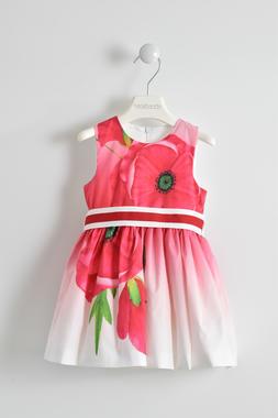 Vestitino smanicato con fantasia floreale sarabanda ROSSO-2246