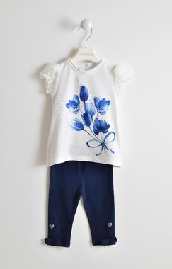 Completo con romantica stampa maglietta e leggings sarabanda NAVY-3854