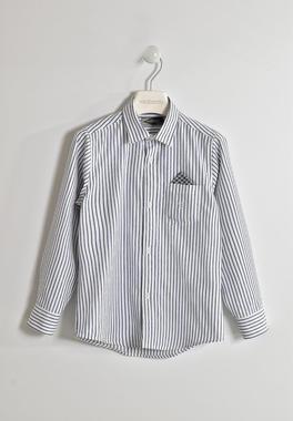 Camicia bambino in tessuto rigato con taschino con pochette sarabanda BIANCO-0113