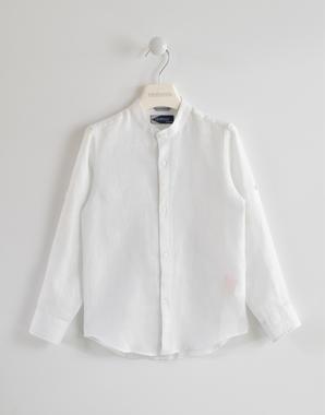 Camicia bambino 100% lino a manica lunga con colletto alla coreana sarabanda BIANCO-0113