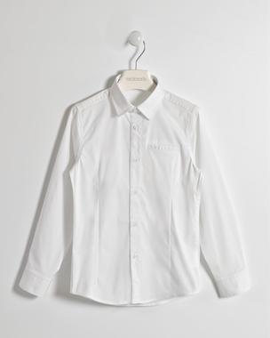 Camicia slim fit bambino a manica lunga in tessuto misto cotone sarabanda BIANCO-0113