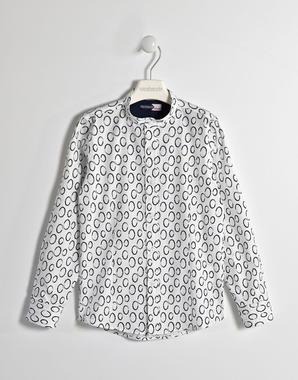 Comoda camicia bambino a manica lunga in popeline di cotone stretch sarabanda BIANCO-BLU-6GE4