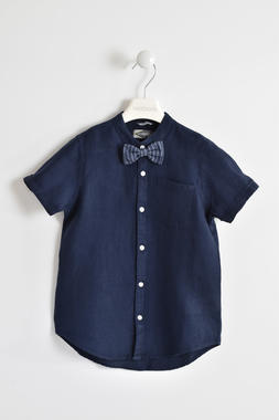 Camicia a mezza manica per bambino in fresco lino sarabanda NAVY-3854