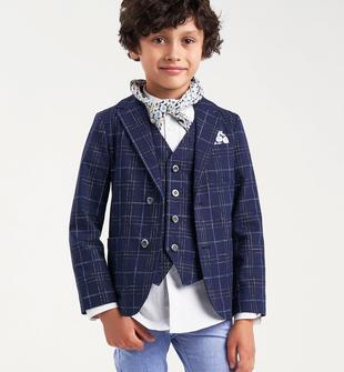 Giacca blazer classico cerimonia per bambino con fodera in contrasto sarabanda NAVY-3854