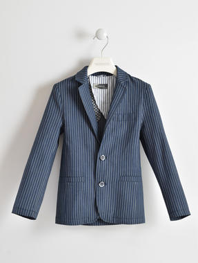 Elegante giacca cerimonia per bambino in tessuto rigato e dettagli interni sarabanda GRIGIO SCURO-3846