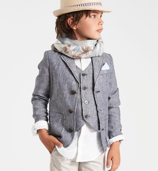 Elegante giacca cerimonia per bambino in tessuto rigato sarabanda NAVY-3554