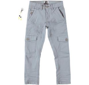 Pantalone bambino modello cargo in cotone elasticizzato sarabanda GRIGIO  -3882