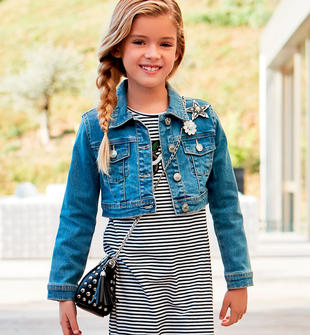 Giubbotto bambina di jeans stretch con taglio classico sarabanda BLU CHIARO LAVATO-7310