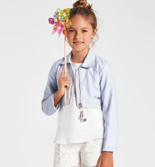 Giubbotto bambina in ecopelle finiture e zip dorate sarabanda CELESTE-3613