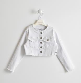 Giubbotto bambina in denim bianco sarabanda BIANCO-0113