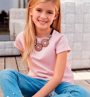Top camicia per bambina in voile mezza manica sarabanda ROSA CHIARO-2612