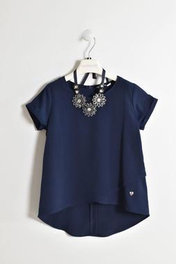 Top camicia per bambina in voile mezza manica sarabanda NAVY-3885
