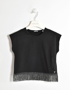 T-shirt bambina con maniche appena scese con frange di lurex sarabanda NERO-0658