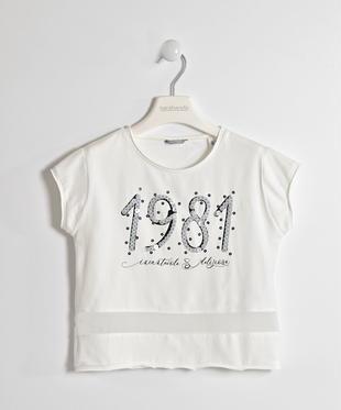 T-shirt bambina manica corta in cotone stretch con pailettes sarabanda PANNA-0112