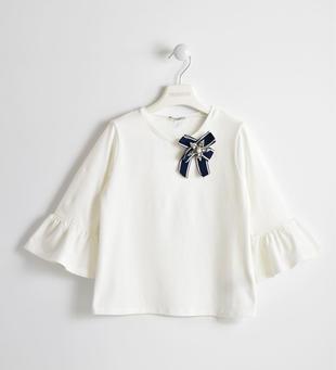 T-shirt bambina manica a tre quarti con stella di perle e strass sarabanda PANNA-0112