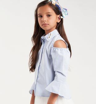 Camicia bambina in misto cotone stretch con spalla scoperta sarabanda CELESTE-3613