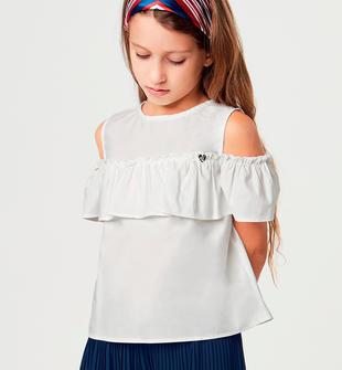 Deliziosa camicia bambina in popeline stretch con rouche sarabanda PANNA-0112