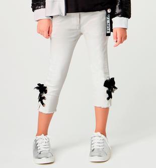 Pantalone bambina in twill color bianco modello slim sarabanda BIANCO-0113