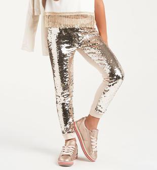 Luccicante pantalone bambina in cotone con pailettes sarabanda BEIGE-0151