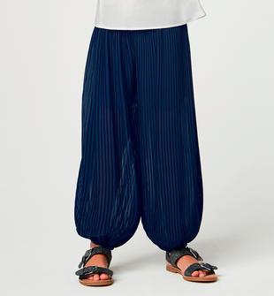 Pantalone harem per bambina in voile plissettato blu scuro sarabanda NAVY-3885
