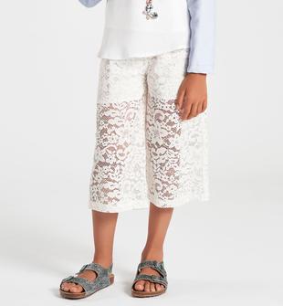 Pantalone bambina modello gaucho in pizzo bianco sarabanda PANNA-0112
