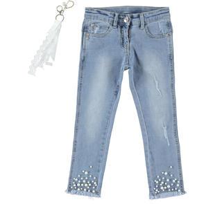 Pantalone bambina in denim taglio slim con perle cucite sul fondo sarabanda BLU CHIARO LAVATO-7310