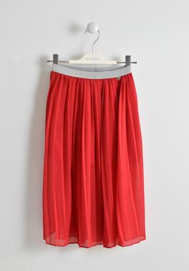 Gonna lunga plissettata rossa con cinturino elasticizzato lurex in vita sarabanda ROSSO-2246