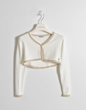 Elegante e comodo coprispalla per bambina in tricot di viscosa sarabanda PANNA-0112