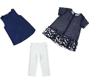 Completo elegante per bambina tre pezzi con pantalone in punto milano sarabanda NAVY-3885
