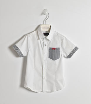Camicia in popeline con taschino margherita sarabanda BIANCO-GRIGIO-8011