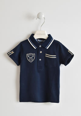 Polo 100% piquet di cotone con badge sarabanda NAVY-3854